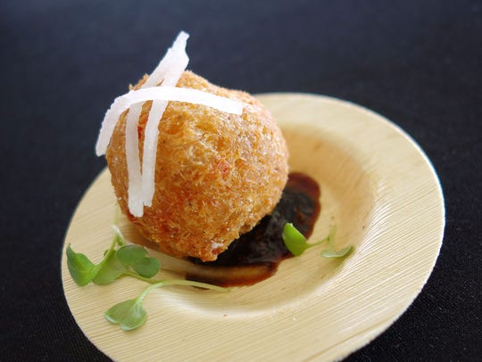 Dungeness crab fritter with Asian pear and black pepper