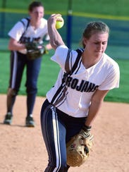 Chambersburg's Laken Myers pitches the Mifflin Cty.