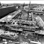 View of the Rochester Riverside Convention Center construction from the 15th floor of Holiday Inn in 1984.