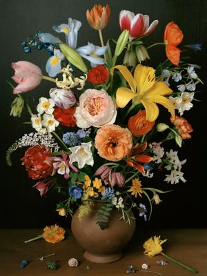Sharon Core's 1606 (2011) uses a vase of flowers from a painting created in 1606 as its inspiration. Core grew every flower that appears in the photograph, then arranged them in a vase exactly as they appear in the original painting.