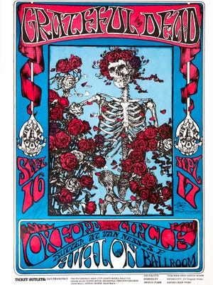 """Stanley Mouse and Alton Kelley's """"Skeleton and Roses,"""" Sept. 16−17, 1966, (offset lithograph, 20 x 14 inches) is part of the collection of Gary Westford of Salem."""