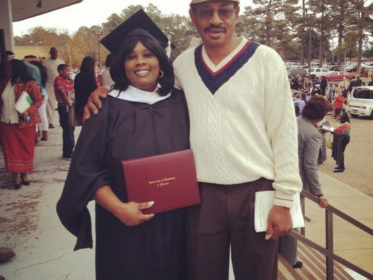 Loretta Hudson during one of her ULM graduations with