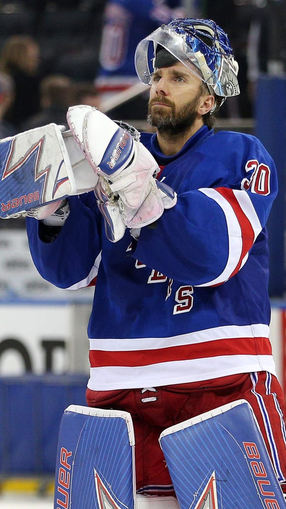 Rangers goalie Henrik Lundqvist (30) applauds the fans after losing in game six of the second round of the 2017 Stanley Cup Playoffs to the Ottawa Senators at Madison Square Garden on Tuesday, May 9, 2017.