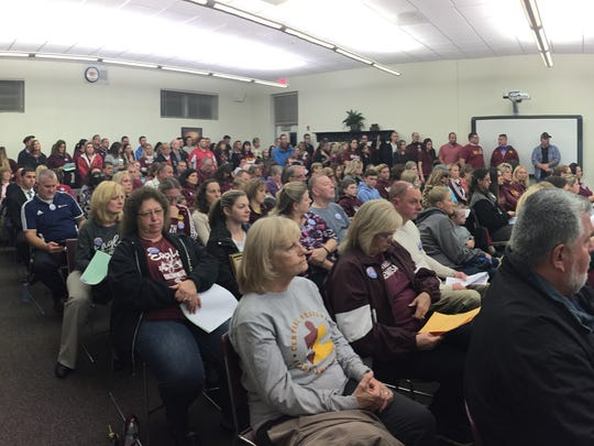 Hundreds fill the Board of Education's meeting room on Thursday in Central Regional High School. Most were there to support teachers and staff in their push for higher raises in a contract still being negotiated.