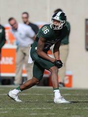 Michigan State receiver Trishton Jackson lines up during