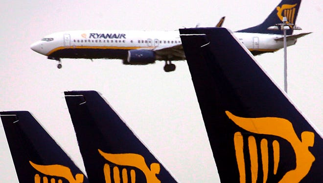 A file picture dated 10 May 2007 shows a Ryanair planes at Dublin airport.
