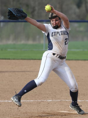 Hudson pitcher Olivia Stefanoni guides a 16-0 shutout win over Twinsburg in April of 2019.