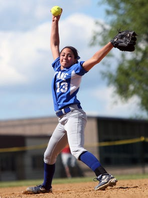 Haldane's Marley Chefalo (13) pitching against Chester during the girls softball state regionals at Minisink Valley High School in Slate Hill, N.Y. June 6, 2014. Chester won the game 4-1.