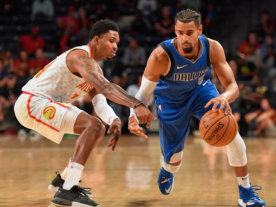 Former CSU basketball star Gian Clavell, shown playing for the Dallas Mavericks early in the 2017-18 season, will play for the Portland Trail Blazers in the NBA's Las Vegas Summer League.