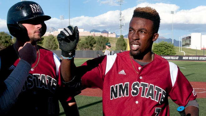 New Mexico State's Daniel Johnson (7) was named Western Athletic Conference Baseball Player of the Year on Tuesday.