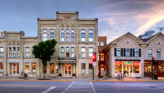 The Washington House Inn features rooms in a historic Cream City brick building in downtown Cedarburg.