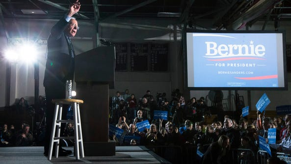 Bernie Sanders speaks during a primary night rally