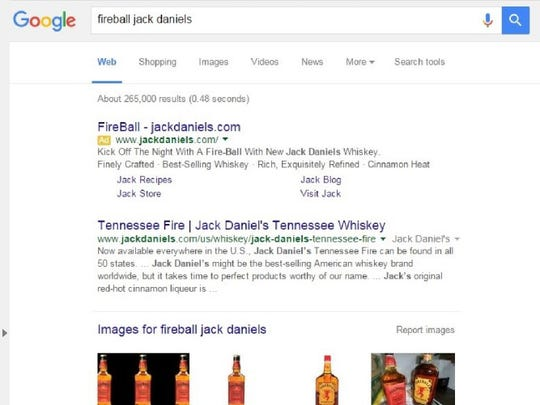 "Sazerac has filed a lawsuit against Jack Daniel's concerning the company's use of the term ""Fireball"" in Google advertisements. Here is an example of the ads, which was included in filed court documents."