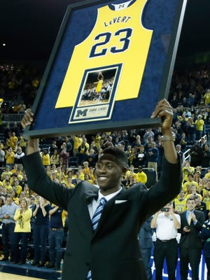 Caris LeVert of the Michigan Wolverines celebrates his final home game March 5, 2016, in Ann Arbor.