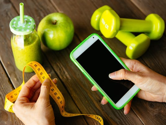 Fitness diet and nutrition smartphone app concept