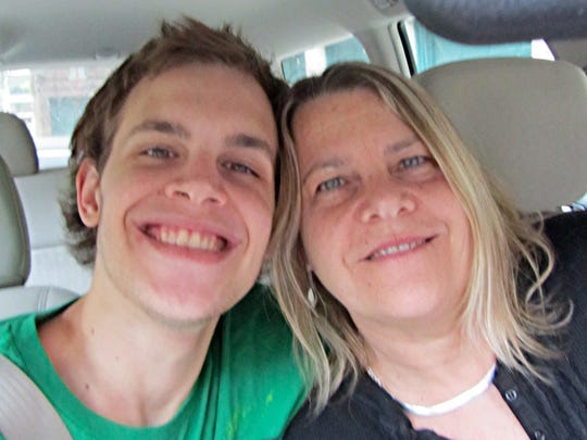 A photo of artist Inez Andrucyk of Mohegan Lake with her son Reid Kasunic. Her son died in January of 2015 of a heroin overdose. Since then, she has been making work about her personal tragedy, trying to raise awareness about addiction. She says that dedicating her work to her son has been therapeutic and in some way keeps him alive.