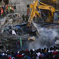 Dealeryn Saisi Wasike, the nearly 6-month-old girl who was rescued early Tuesday from the rubble of a building that collapsed in Nairobi, Kenya.
