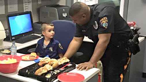 William Evertz Jr. saved up his allowance for seven months and went to a Subway restaurant to get sandwiches for officers in Winslow Township.