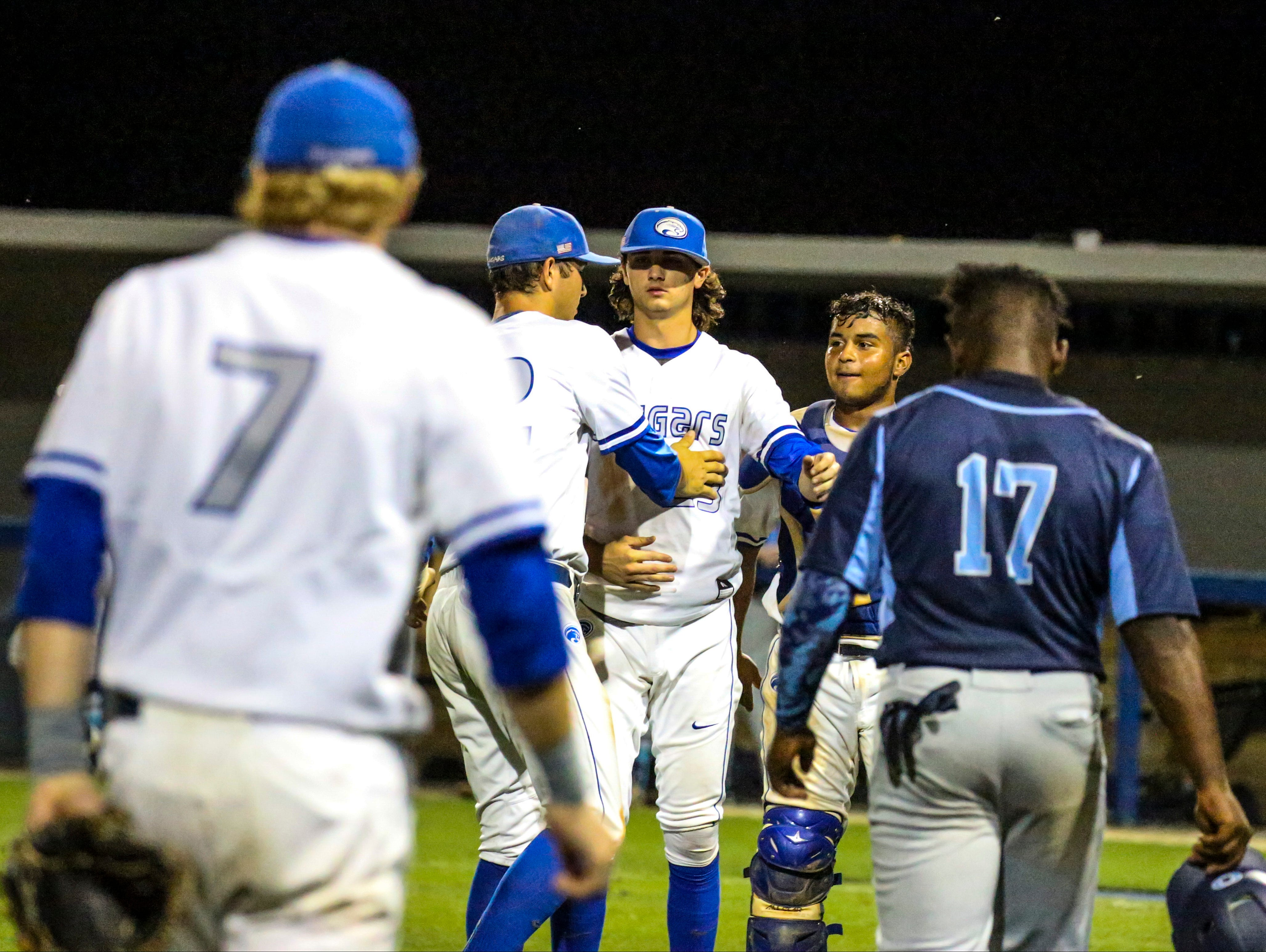 Region 3A-3 semifinal baseball between Canterbury and Sarasota Out of Door Academy. Canterbury won 2-0 to advance and their team celebrates their win by rallying around starting pitcher, Sam Keating.