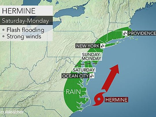 The Lower Hudson Valley could experience heavy rain and high winds from the remnants of Hermine.