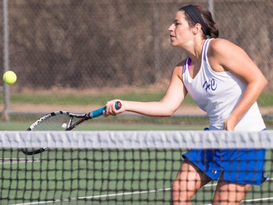 Harper Creek's Kendall Latshaw on the No. 1 singles