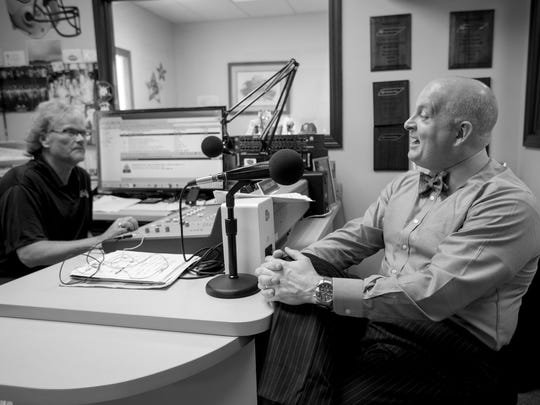 Charles Choate (left)  interviewed Dr. Keith Carver for KYTN Radio in Union City.