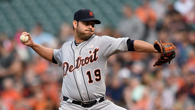 Detroit Tigers pitcher Anibal Sanchez delivers against the Baltimore Orioles during the first inning of a baseball game Saturday, May 14, 2016, in Baltimore.