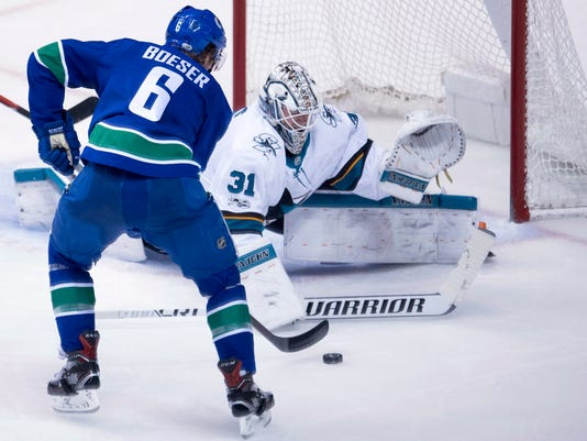 Vancouver Canucks right wing Brock Boeser (6) tries to get a shot past San Jose Sharks goalie Martin Jones (31) during the second period of an NHL hockey game in Vancouver, Friday, Dec. 15, 2017.  (Jonathan Hayward/The Canadian Press via AP)