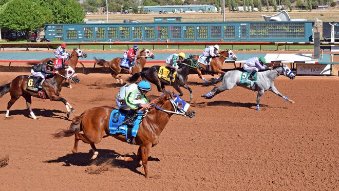 Blue Corazon won the $1 Million Ruidoso Futurity (shown) and returns in the Rainbow Futurity trials on Saturday at Ruidoso Downs. Gay Harris photo.