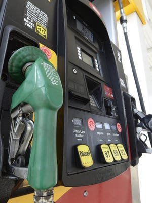 USAT Gasoline still contains the same amount of ethanol, despite lower prices. 11/24/14 1:57:45 PM --Glen Mills , PA, U.S.A -- Gas pumps at Wawa in Glen Mills, PA. The green nozzle is for Diesel. Photo by Eileen Blass, USA TODAY Staff ORG XMIT: EB 132125 Gas Prices 11/24/2014 [Via MerlinFTP Drop]