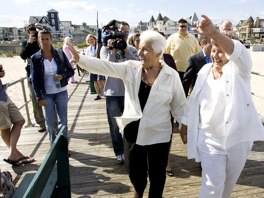 Emily Sonnessa (left) and Jan Moore of Ocean Grove, at their 2007 civil union ceremony.