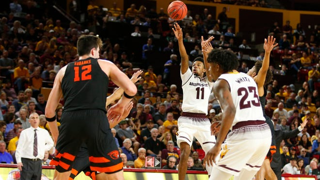 Arizona State Sun Devils guard Shannon Evans II (11) takes a shot during a men's basketball game against the Oregon State Beavers at Wells Fargo Arena in Tempe on January 13, 2018.