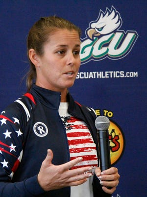 Volleyball player Brooke Youngquist Sweat was honored by her alma mater Florida Gulf Coast University, along with swimmer Lani Cabrera, for their inclusion in the 2016 Olympic Games during an event At Alico Arena on Saturday, July 23, 2016.
