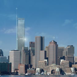 This conceptual design composite made and released by Boston Redevelopment Authority on Monday, Nov. 13, 2006, shows a proposed skyscraper in downtown Boston. Local businessman Steve Belkin's proposed glass-and-steel tower would top the city's current tallest building by more than 200 feet and 15 stories, reflecting a resurgence in the downtown commercial real estate market.  (AP Graphic/Boston Redevelopment Authority) ORG XMIT: BX101