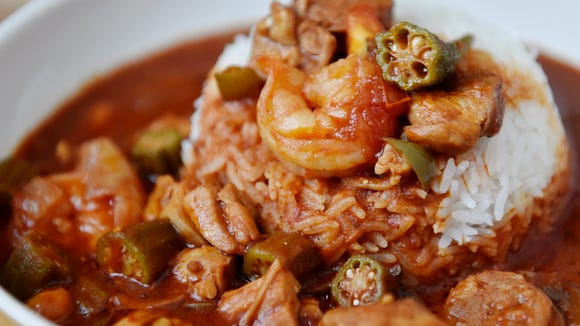 Chicken, sausage and shrimp gumbo, made with okra, bell peppers and garlic from a CSA share from Prescott's Patch.