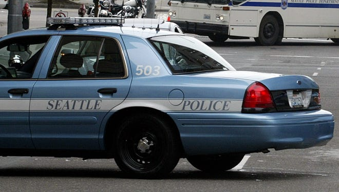 A Seattle police car near the Federal Courthouse in Seattle.