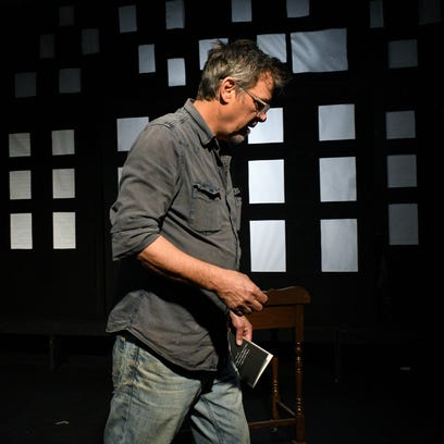 """R.B. Morris rehearsing his new play """"The Man Who Lives Here Is Loony"""""""