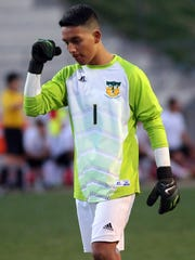 Coachella Valley goalie Luis Lemus turns to the net and pumps his fist after the Arabs scored on Palm Springs during the first half of their Desert Valley League game on Wednesday in Palm Springs.