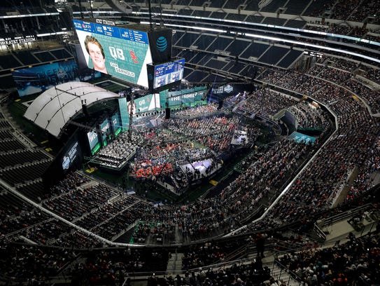 The scene at the NFL Draft at AT&T Stadium in Arlington,