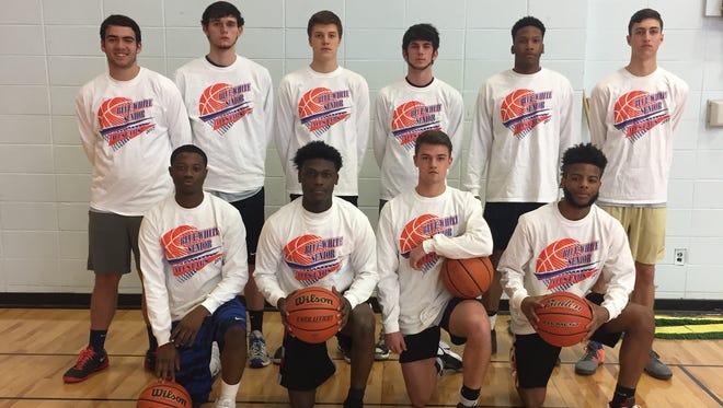 The Blue boys team for Saturday's Blue-White All-Star basketball games at Enka.
