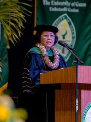 Hilda Heine, President of Republic of Marshall Islands delivered the commencement address to the University of Guam graduates during the ceremony held at the Calvo Field House on May 22.