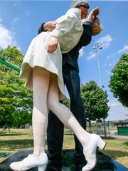 """The Seward Johnson Atelier made the """"Kissing Sailor"""" replica at Memorial Park in Royal Oak, photographed on Monday June 20, 2016."""