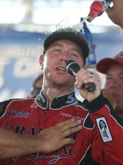 J. Michael Kelly driver of the Graham Trucking I boat and his teamcelebrate winning the APBA Gold Cup race Sunday, August 28, 2016 on the Detroit river. Kirthmon F. Dozier/Detroit Free Press