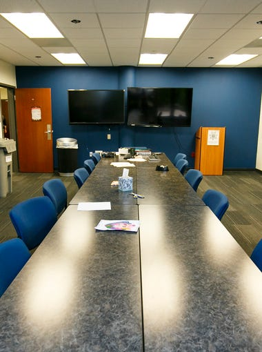 The briefing room at the Eugene Police Department on Wednesday, Oct. 19, 2016. The department moved into the renovated 1980s building in 2012, after acquiring the 66,000 square foot space for $10.2 million, plus an additional $7 million in renovations.