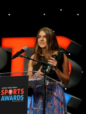 Emily Surgent of Wall acccepts the Field Hockey Player of the Year Award during the Asbury Park Press Sports Awards at the Count Basie Theatre in Red Bank, NJ Wednesday, June 14, 2017.  #APPSportsAwards