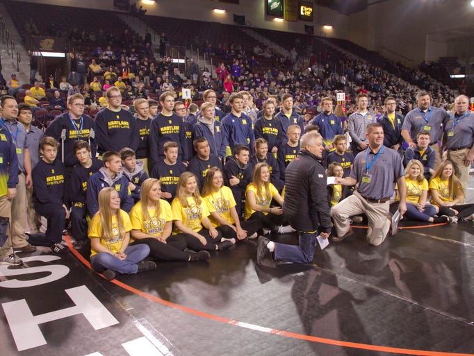 The Hartland Eagles wrestling team poses for a photo