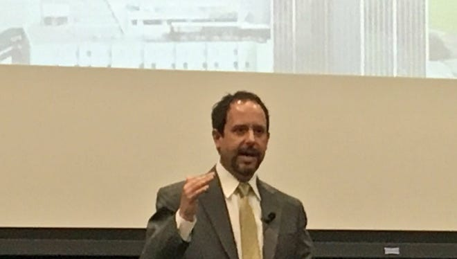 Area Development Partnership President Chad Newell talks about the Pine Belt's economic outlook during a forum Thursday at the University of Southern Mississippi.