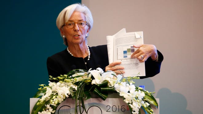 International Monetary Fund (IMF) Managing Director Christine Lagarde speaks during a session of the G20 High-level Seminar on Structural Reform, preceeding the G20 Finance Ministers and Central Bank Governors Meeting at the Pudong Shangri-la Hotel Feb. 26, 2016 in Shanghai, China.