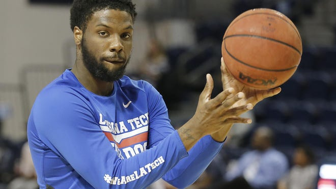 Louisiana Tech Bulldogs forward Erik McCree (2) warms up before playing against the Rice Owls at Tudor Fieldhouse.