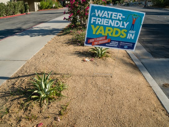 A sign promoting the Desert Water Agency's turf removal
